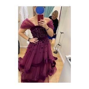 Beautiful Mac Duggal 66346H Velvet Trim Ball Gown